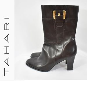 TAHARI Frida Mid-calf Brown Leather Boots